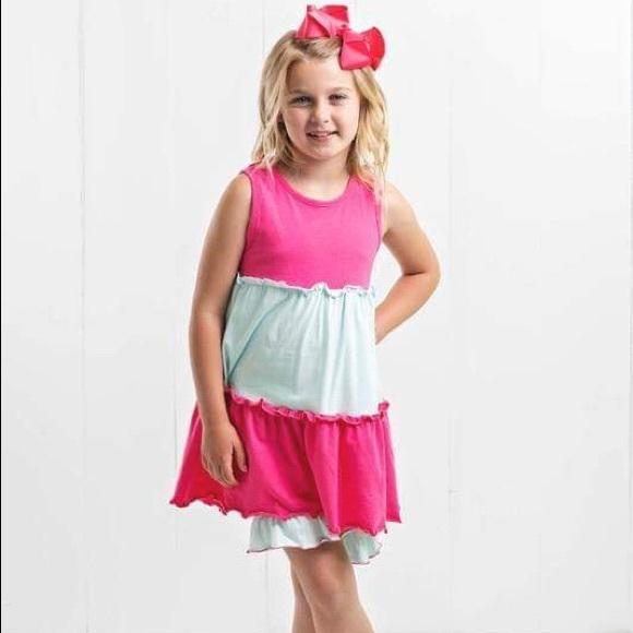 Ruffle Girl Other - Ruffle Girl Pink & Mint Ruffle Tunic Short Set